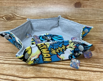 Collapsible Dice Tray // Batman // Hexagon Dice Tray // Game Component Trays // Fabric Trays