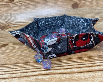 Collapsible Dice Tray // Deadpool // Hexagon Dice Tray // Game Component Trays // Fabric Trays