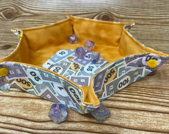 Collapsible Dice Tray // Monopoly Money // Hexagon Dice Tray // Game Component Trays // Fabric Trays