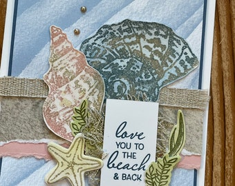 Beautiful hand-made greeting cards // with envelope // 5.5 x 4.25 // Beach // Love You