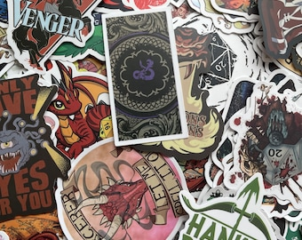 Dungeons and Dragons Stickers // RANDOM Pack of 6 // Waterproof // Glossy