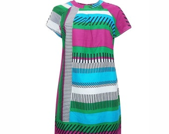 Toffee Printed Midi Shift Fringed Dress with Fringes for Shorter Sisters Womens Hebrew Israelite Clothing Modest Apparel 12 Tribes Garment