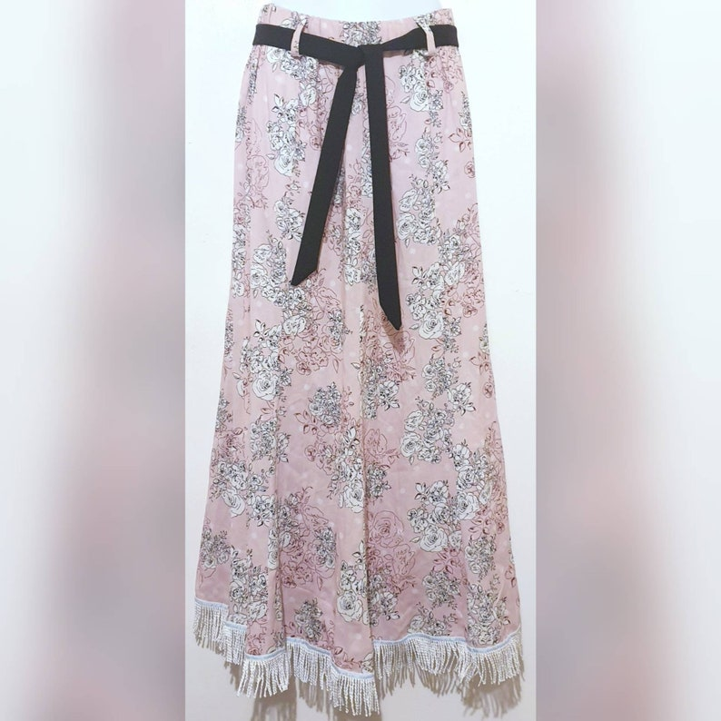 Pink Maxi Fringed Skirt with Fringes Womens Hebrew Israelite Clothing Modest Apparel 12 Tribes Garment