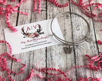 butterfly charm bracelet, butterfly bangle, butterfly jewelry, gift for her, birthday gift for her