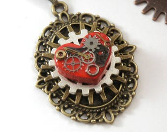 Victorian Steampunk Necklace, Steampunk Jewelry, Cog Necklace, Steampunk Heart Cameo, Mechanical Jewelry, Gear Necklace, NotAliceBoutique
