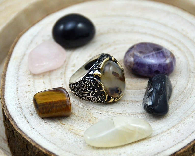 agate stone creative fast shipping Turkish handmade ottoman style ring 925k sterling silver  mens ring christmas gift mens jewelry.