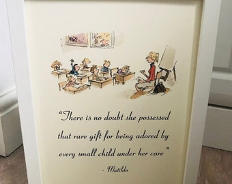 Nursery teacher gift etsy matilda miss honey teacher roald dahl vintage style a4 quote print art unframed ideal gift nursery birthday christening quentin blake school negle Images