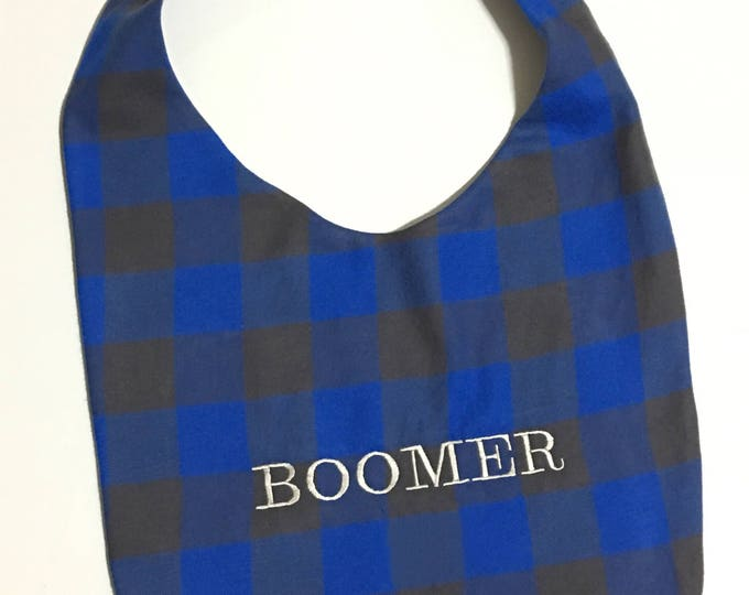 Personalized Custom Handmade Giant Breed Dog Bib- Blue Flannel