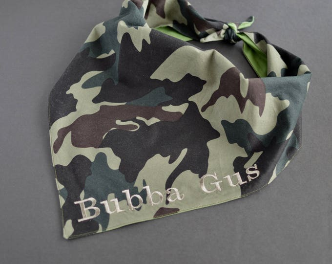 Personalized Handmade Dog Bandana - Army Print