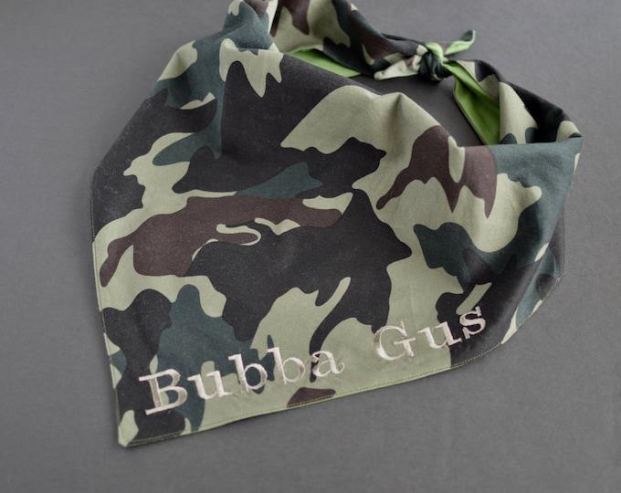Personalized Handmade Dog Bandana - Army Print