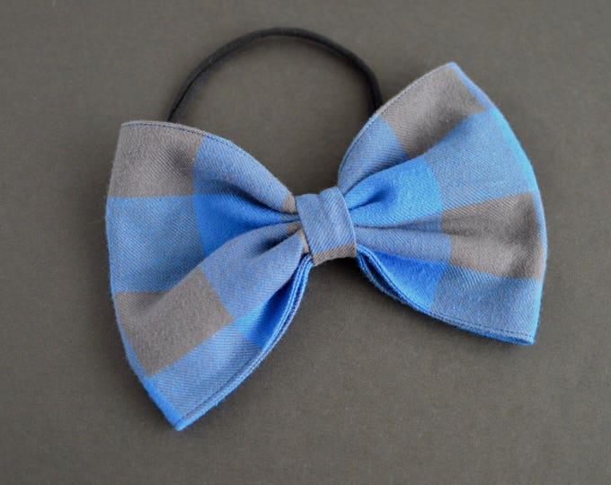 Handmade Modern Wedding Dog Bow Tie - Blue Flannel