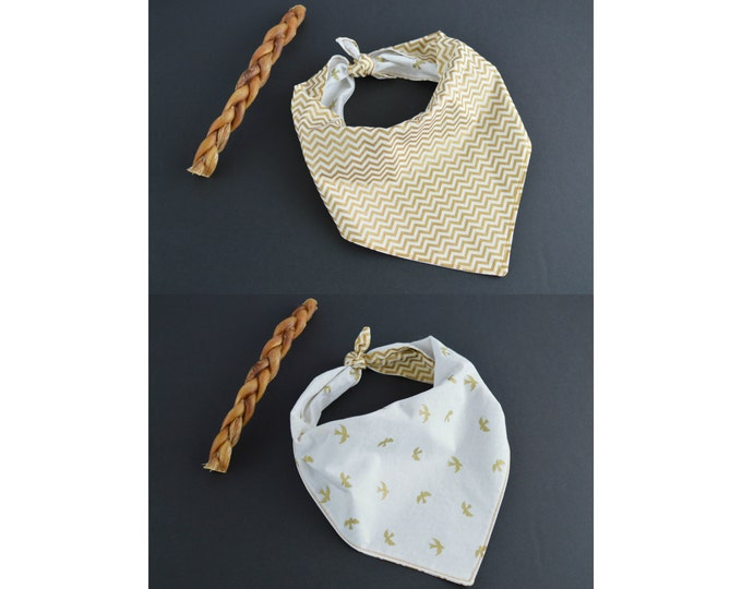 Custom Reversible Personalized Dog Bandana with Ties - 2 in 1 - Gold Chevron and Gold Birds print