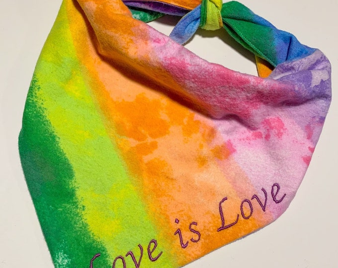 Handmade Tie On Dog Bandana - Rainbow - Pride Bandana - Love Is Love