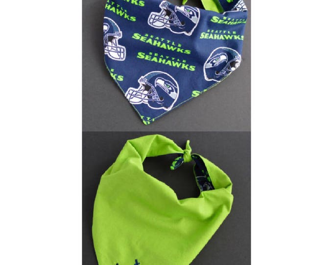 Handmade Personalized Tie On Dog Bandana - Seahawks