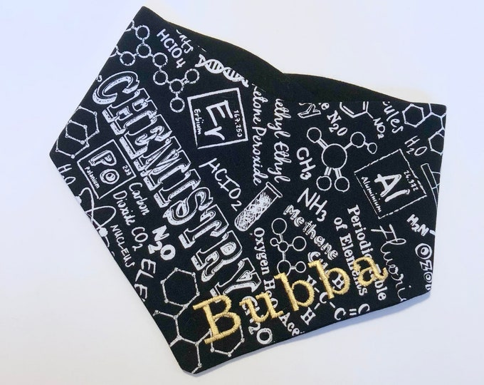 Handmade Personalized Baby Bandana Bib- Chemistry and Science bib