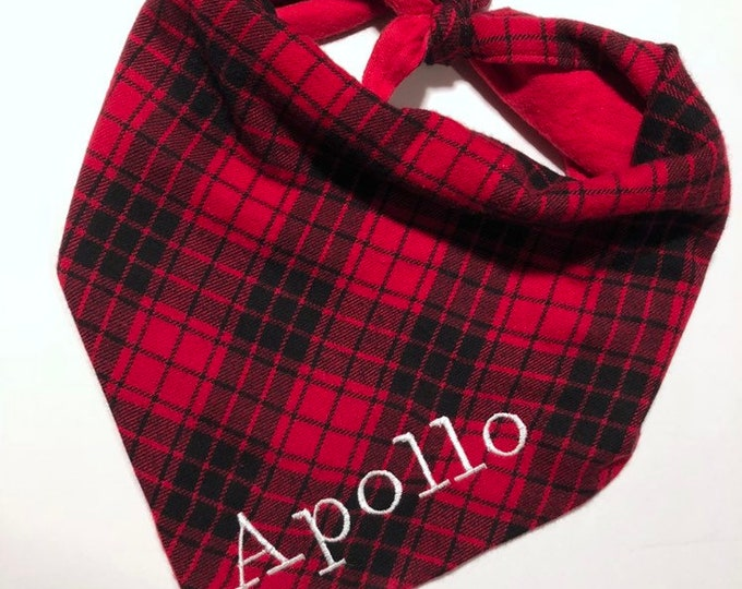 Personalized Custom Handmade Tie On Dog Bandana - Red Flannel
