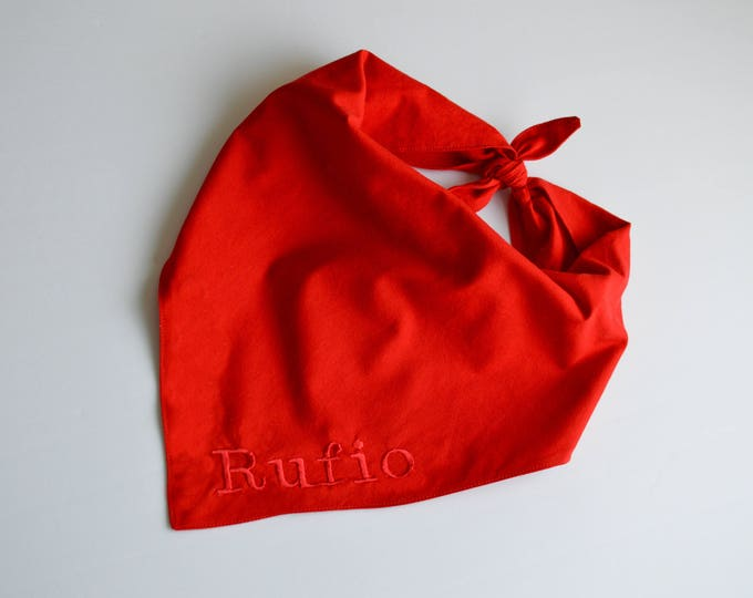 Personalized Tie On Handmade Dog Bandana - Classic Red