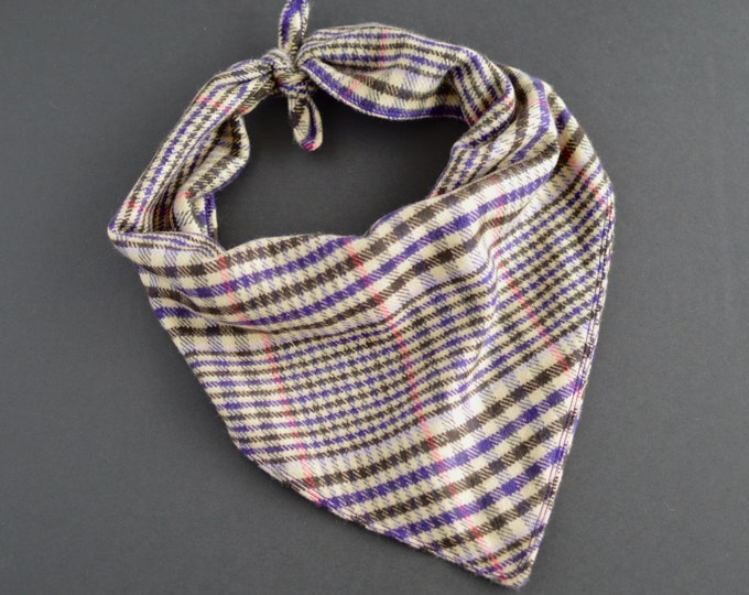 Soft Handmade Tie On Dog Bandana - Ivory and Purple Checkered Flannel