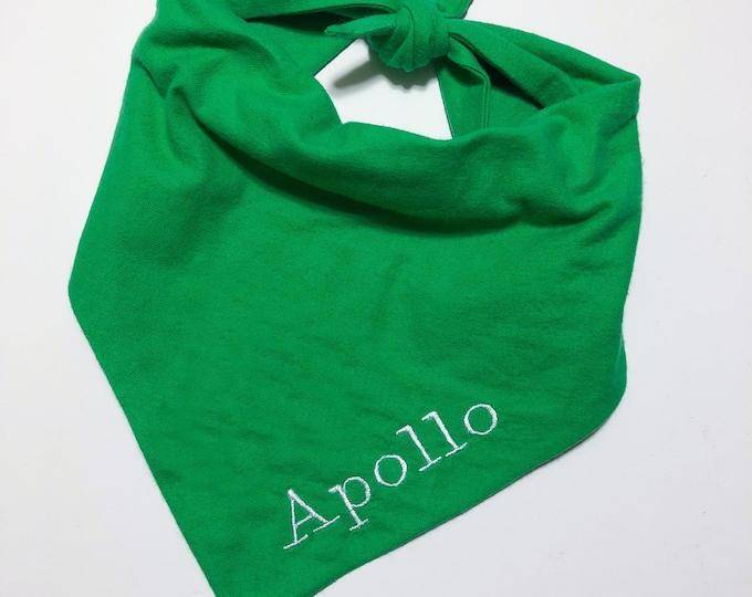 Tie On Handmade Personalized Dog Bandana - Green Flannel