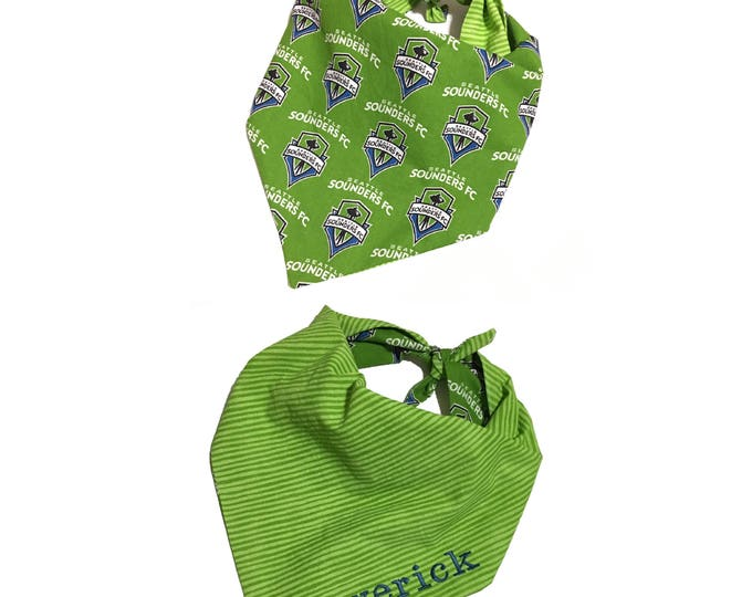 Handmade Personalized Tie On Dog Bandana - Seattle Sounders