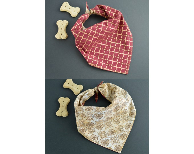 2-in-1 Personalized Reversible Handmade Dog Bandana with Ties - Gold Heart and Burgundy Quatrefoil