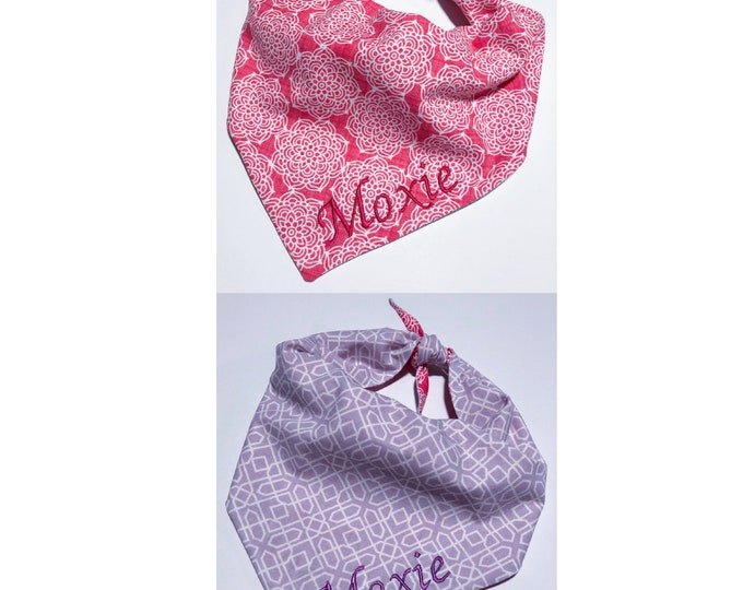 Custom Personalized Reversible Dog Bandana For Girls with Ties - 2 in 1 - Vibrant Pink and Geometric Purple