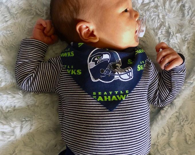Handmade Personalized Reversible Baby Bandana Bib- Seahawks