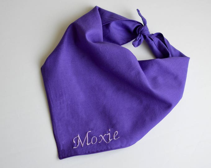 Tie On Handmade Personalized Dog Bandana -Purple