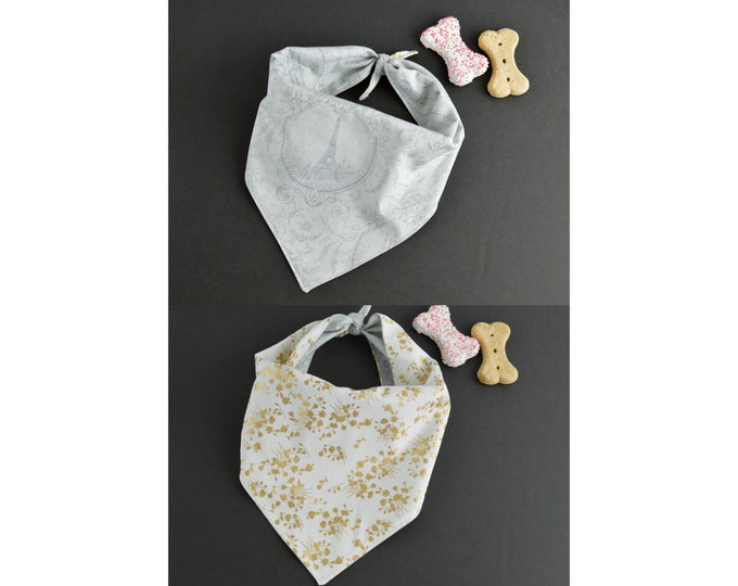 Personalized Fashionable Reversible Handmade Dog Bandana with Ties - Gold Flowers and European print