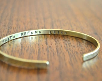 Thin personalized cuff bracelet