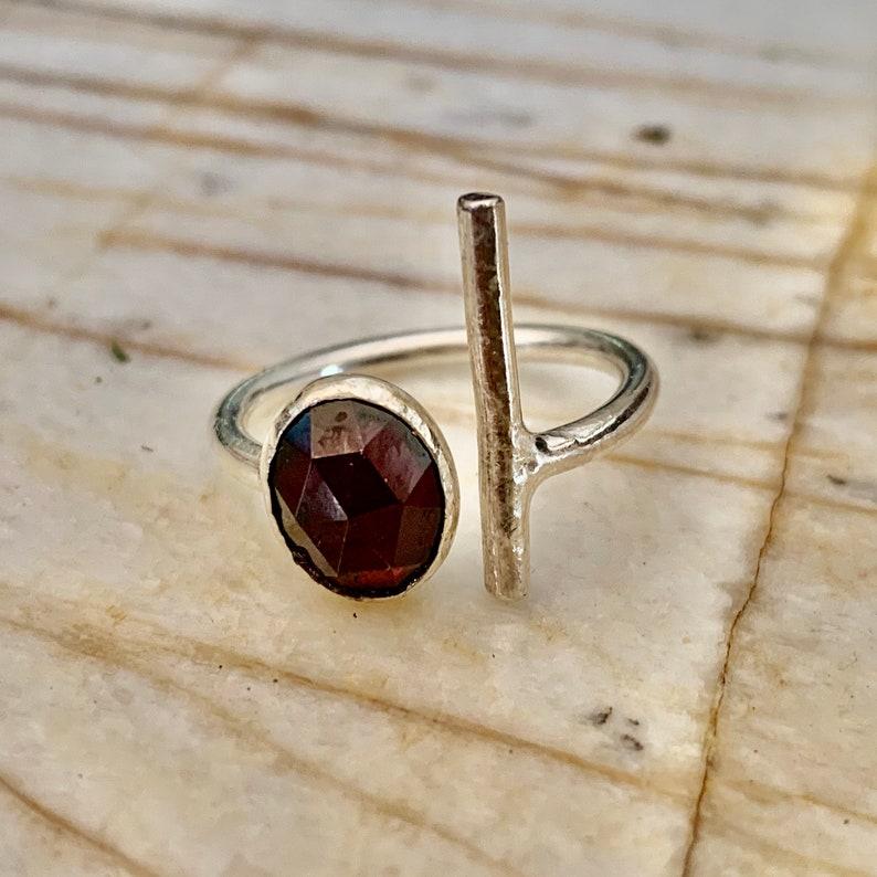 Faceted garnet adjustable ring