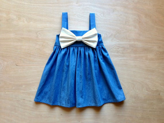 Dress with bow in front girls denim dress Big Bow Dress bow dress pink Dark Wash Denim Dress denim baby clothes custom dress for baby
