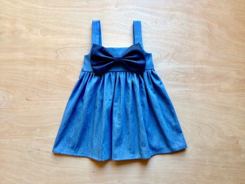 a9404aa99d Denim Dress for Baby Girl Denim Dress Denim Bow Blue Dress