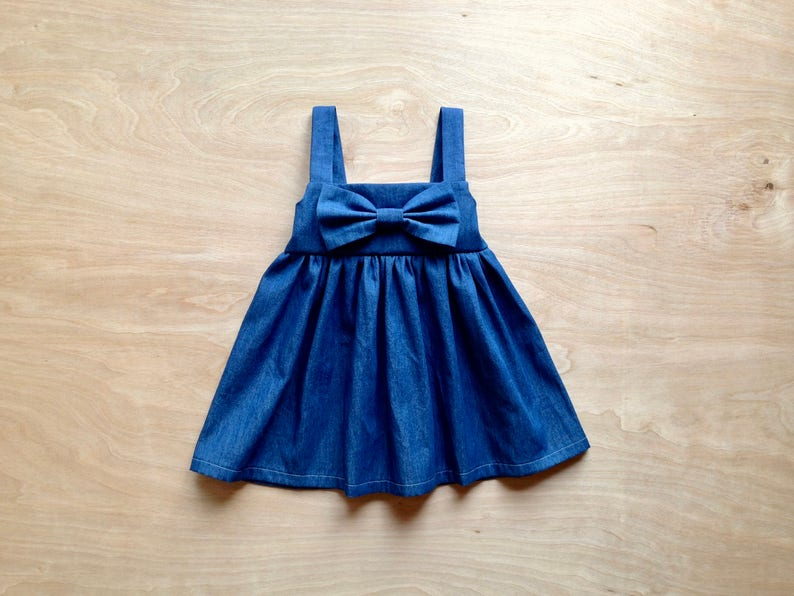 6b497552b0 Denim Dress Baby Girl Clothes Boutique Blue toddler dress