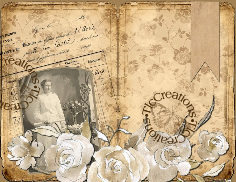 image about Vintage Printable referred to as Grandmothers Rose Yard Classic Printable Junk Magazine Package Magazine Papers