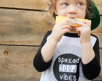 Spread Good Vibes Toddler Raglan- Youth Raglan. Hipster Toddler.