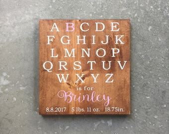 Custom Birth Announcement Wood Sign | Personalized Birth Stats Sign | Baby Gift | Baby Birth Sign | ABC Sign | Alphabet Decor