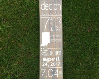 Custom Birth Announcement Wood Sign | Personalized Birth Stats Sign | Baby Gift | Baby Birth Sign | Vertical Birth Announcement