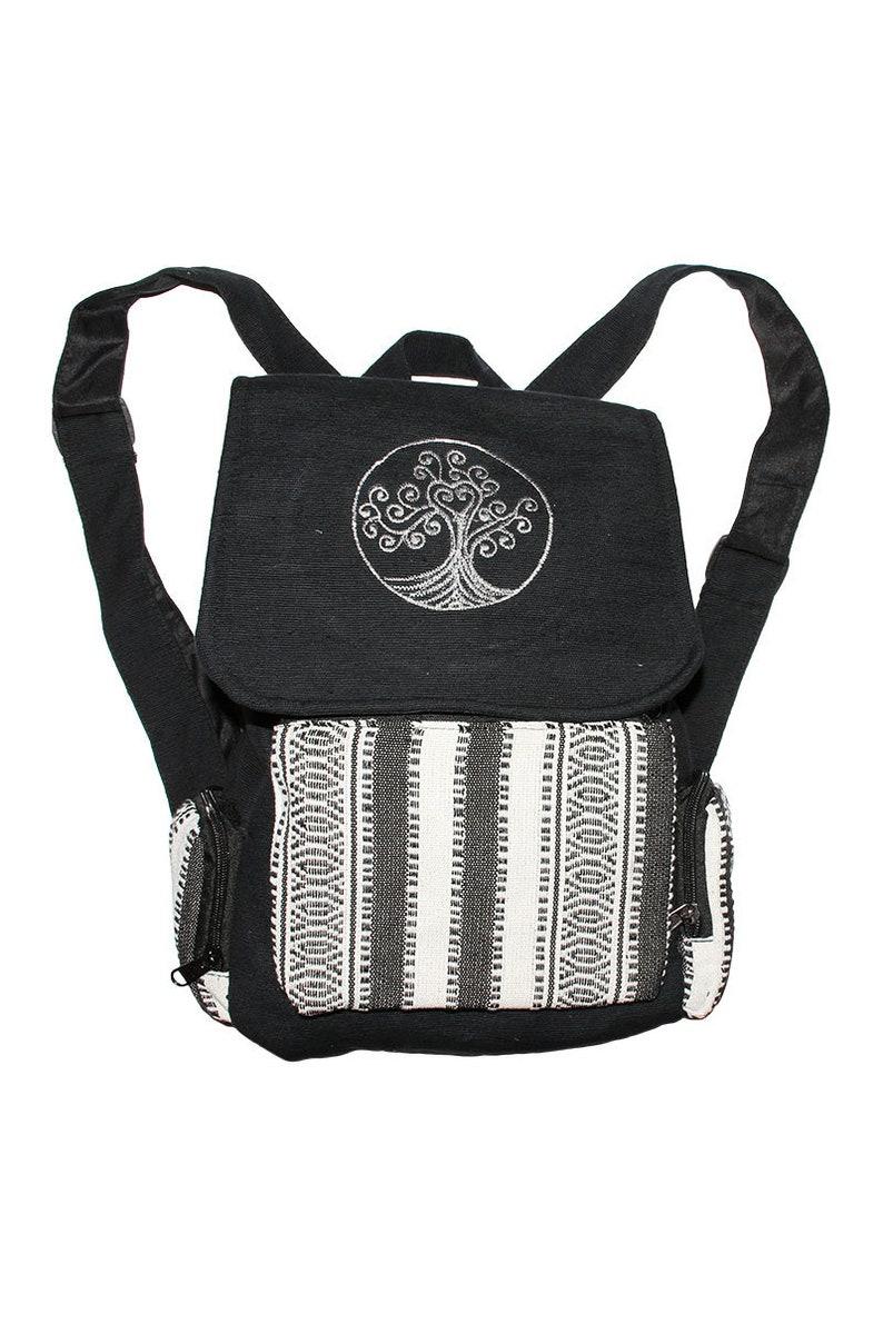 Black cotton backpack