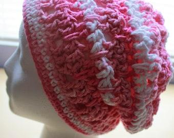Simply Adorable U Crochet Adult Womens Pink Slouchy Hat Accessory, Slouchy Beanie Hat, Summer Beachwear