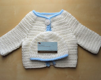 Simply Adorable U Crochet White Baby Sweater Set, Crochet Baby Sweater and Hat, Crochet White Baby Cardigan and Hat, Handmade Baby Sweater