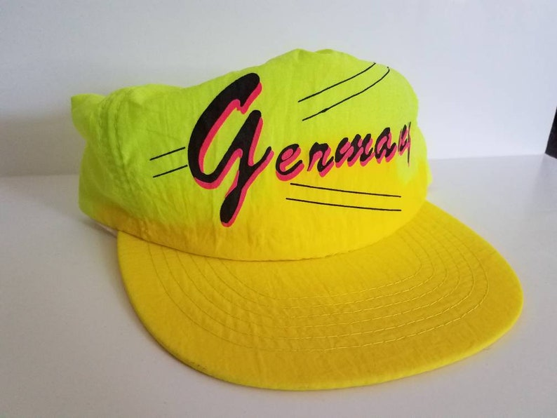 c4c36fe6c2178 Vintage 90s neon yellow and green Germany snapback hat.