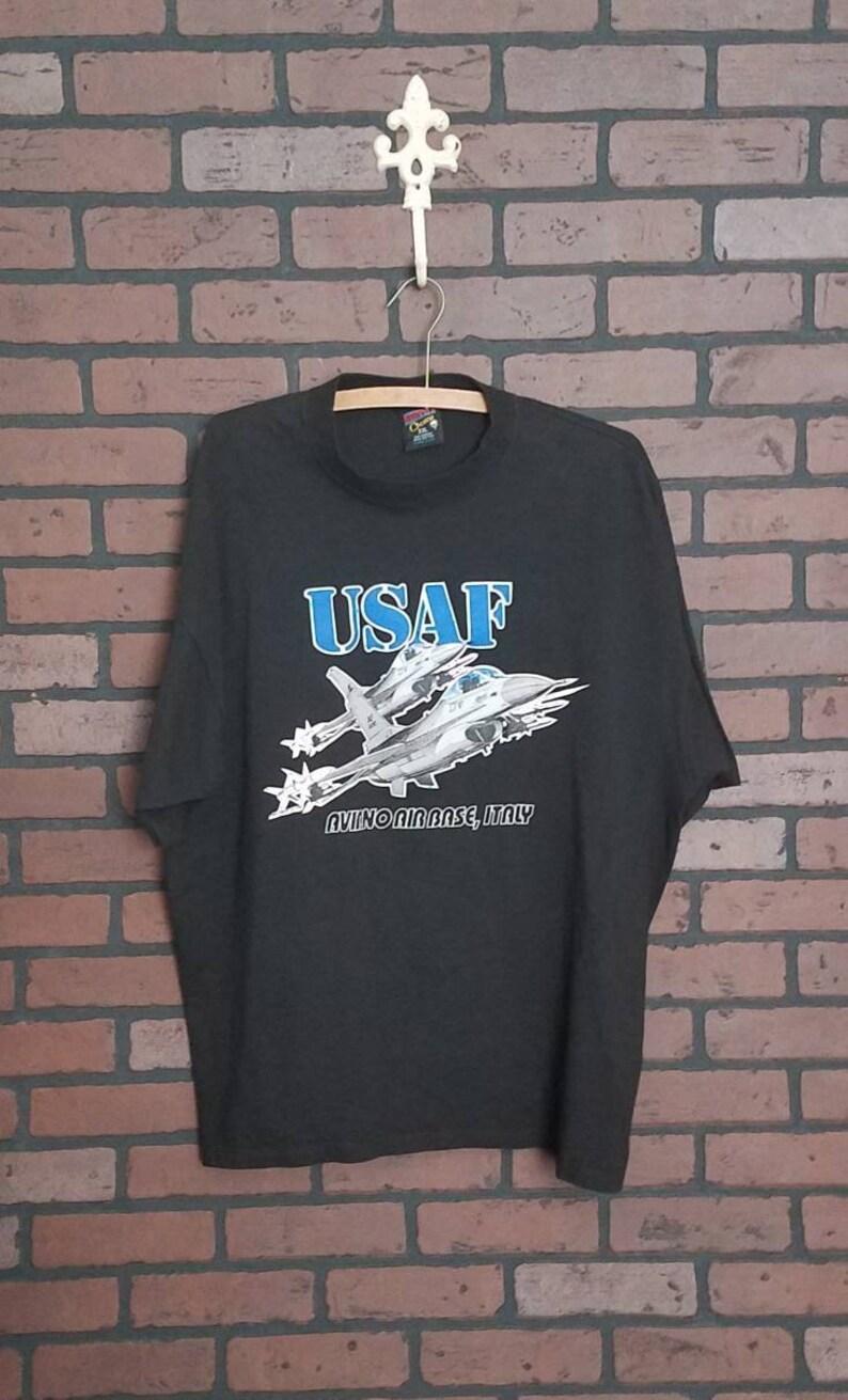 bac2316f Vintage United States Air Force black tshirt. Aviano air base | Etsy