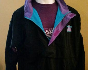 Vintage 90s black windbreaker pullover. With teal and purple