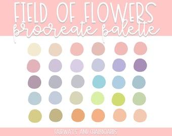 Procreate Field of Flowers Color Palette   Pastel Color Palette   Procreate Colors   Procreate Palette