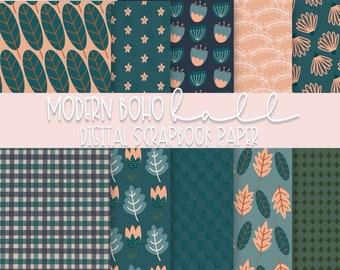"""Modern Boho Fall Digital Scrapbook Paper   12"""" x 12""""   Digital or Printable"""