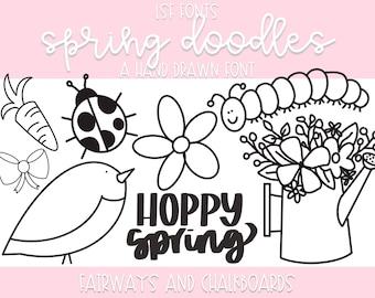LSF Spring Doodle Font   Dingbat Font   Spring Clip Art