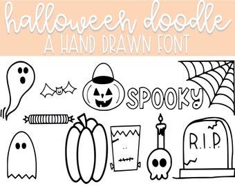 Halloween Doodles   Dingbat Font   Doodle Font   Clip Art