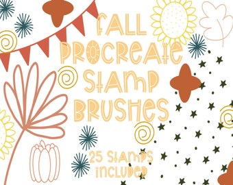 Fall Procreate Stamp Pack   Stamp Brushes for Procreate   Doodle Stamps for Procreate   Stamp Bundle for Procreate   Procreate Brush Bundle