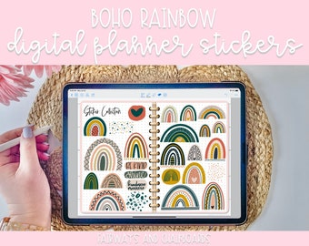 Modern Boho Rainbow Digital Planner Stickers